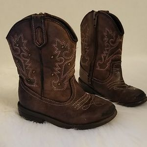 TODDLER GIRL COWBOY BOOTS BROWN RUGGED CUTE STUDS